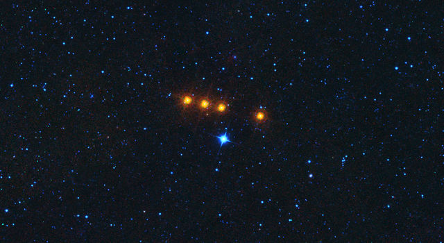 The asteroid Euphro.syne glides across a field of background stars in this time-lapse view from NASA's WISE spacecraft