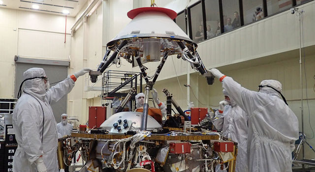 Installing the InSight Spacecraft's Parachute Cone