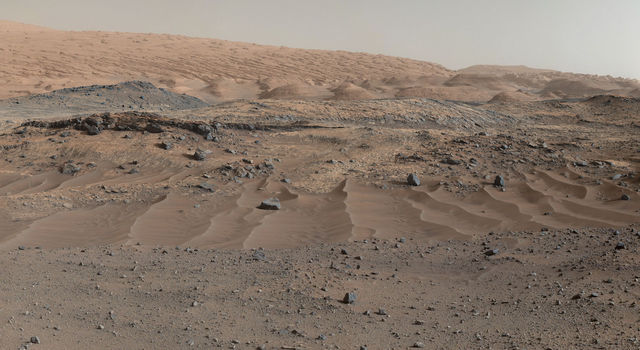 A panorama combining images from both cameras of the Mastcam on NASA's Curiosity Mars Rover