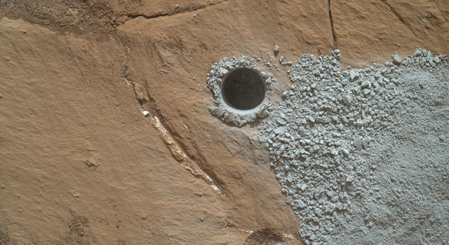 NASA's Curiosity Mars Rover drilled this hole