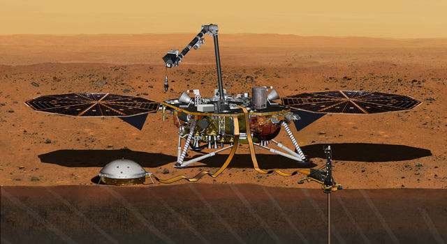 This artist's concept from August 2015 depicts NASA's InSight Mars lander