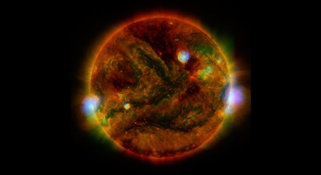 Flaring, active regions of our sun are highlighted in this new image