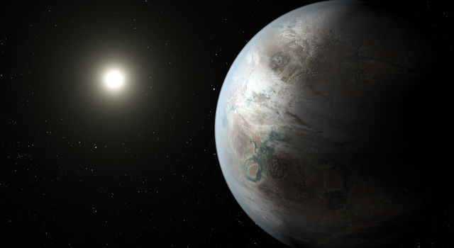 Artist's concept depicts one possible appearance of the planet Kepler-452b