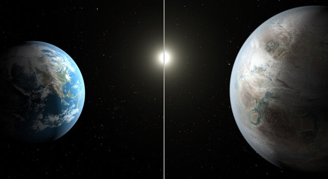 The artist's concept compares Earth (left) to the new planet, called Kepler-452b