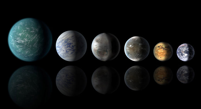A newly discovered exoplanet, Kepler-452b: from left, Kepler-22b, Kepler-69c, the just announced Kepler-452b, Kepler-62f and Kepler-186f