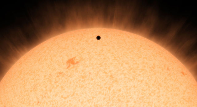 This artist's conception shows the silhouette of a rocky planet, dubbed HD 219134b