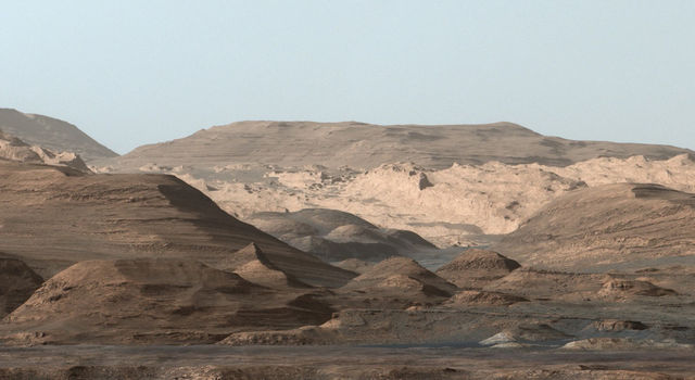 Composite image looking toward the higher regions of Mount Sharp