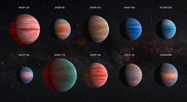 Artist's Impression of the 10 hot Jupiter exoplanets