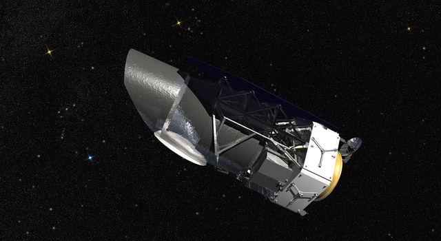 WFIRST, the Wide Field Infrared Survey Telescope, is shown here in an artist's rendering.