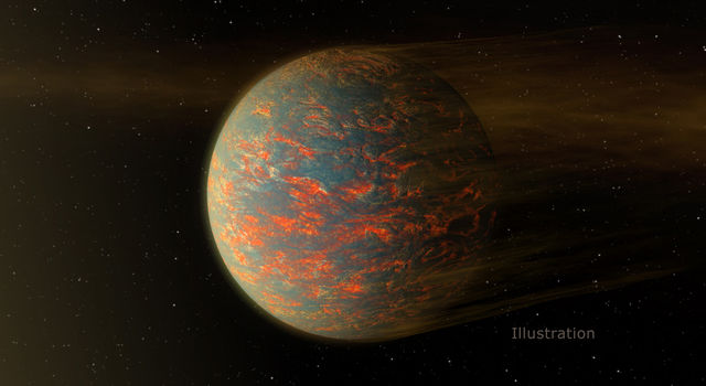 This illustration shows one possible scenario for the hot, rocky exoplanet called 55 Cancri e.