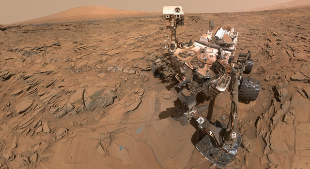 Self-portrait of NASA's Curiosity Mars rover shows the vehicle at the 'Okoruso' drilling site on lower Mount Sharp's 'Naukluft Plateau.'