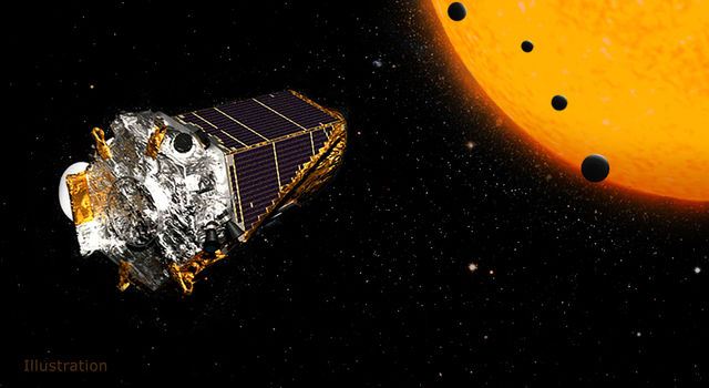This artist's concept shows NASA's Kepler Space Telescope on its K2 mission.