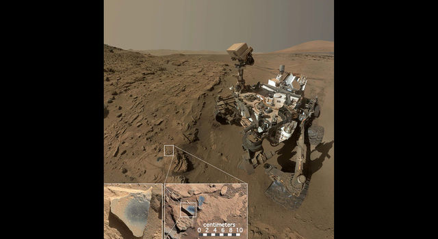 Curiosity rover on Mars with inset images