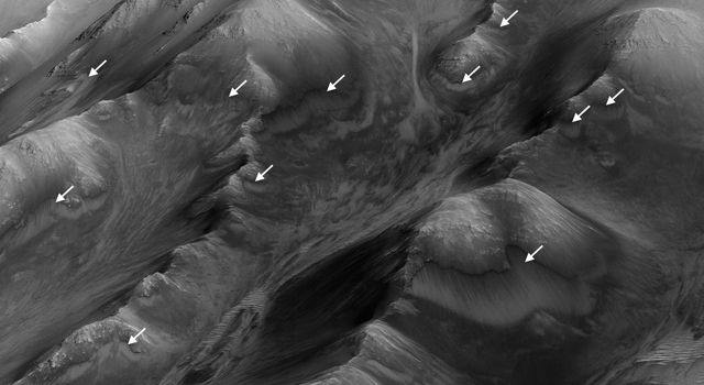Numerous Seasonal 'Lineae' on Coprates Montes, Mars