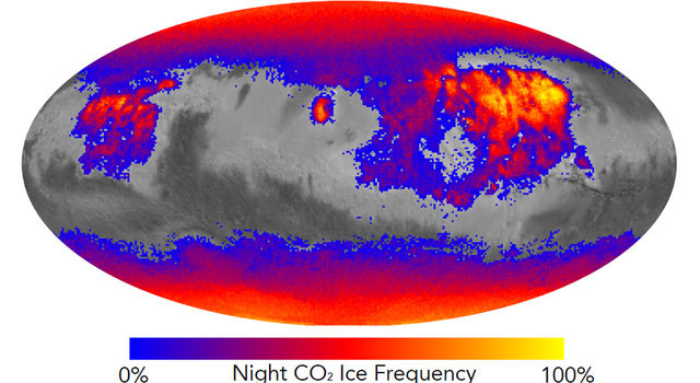This map shows the frequency of carbon dioxide frost's presence at sunrise on Mars.