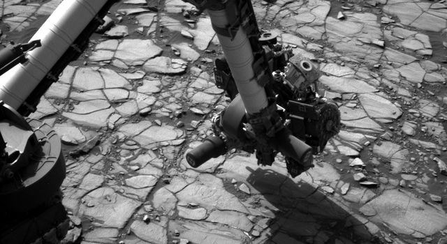 NASA's Curiosity Mars rover began close-up investigation of a target called 'Marimba,' on lower Mount Sharp.