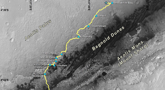 Curiosity Destinations for Second Extended Mission
