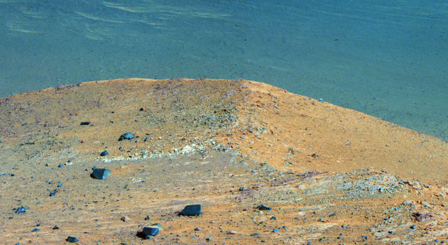 Rover Opportunity shows 'Spirit Mound' overlooking the floor of Endeavour Crater.
