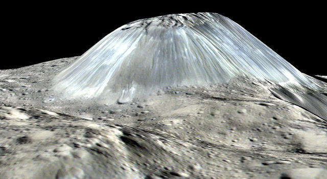 Ahuna Mons in simulated perspective, vertical scale exaggerated by factor of 2, NASA/JPL