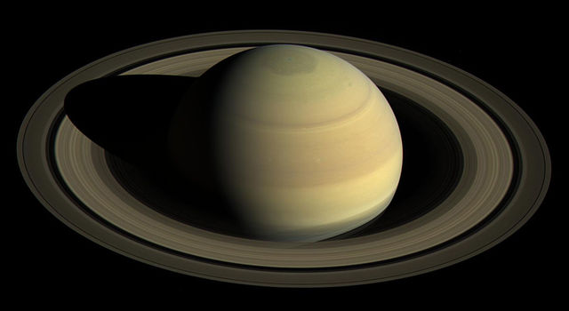 A view from NASA's Cassini spacecraft shows Saturn's northern hemisphere in 2016