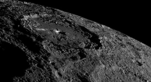 Occator Crate, Ceres, taken as Dawn moves further out from the asteroid, NASA/JPL