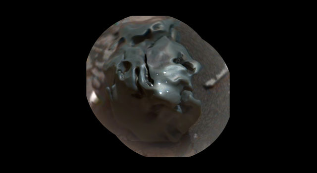 Colorized view of a meteorite on Mars from the ChemCam instrument on NASA's Curiosity Mars rover