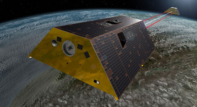 Artist's concept of the twin GRACE-FO satellites