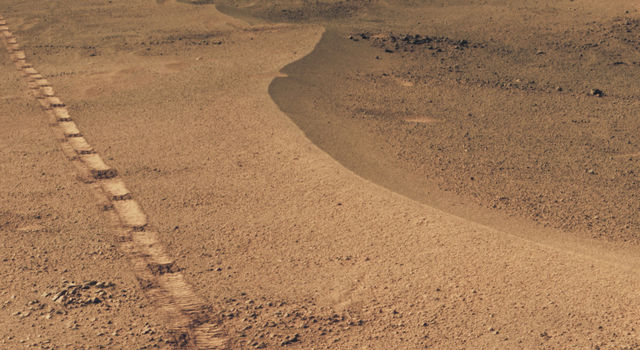 Mars Rover Opportunity's View of 'Orion Crater'