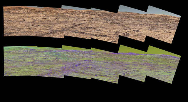 image from the Mast Camera (Mastcam) on NASA's Curiosity rover illustrates how special filters are used to scout terrain.