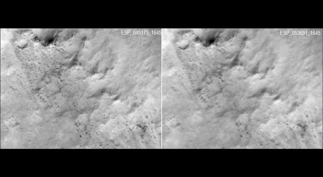 These two frames were taken of the same place on Mars