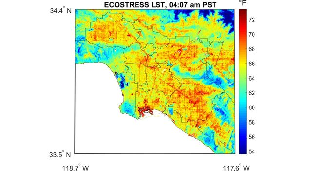Surface temperature variations in Los Angeles, CA