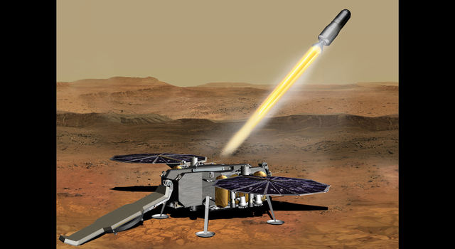 This illustration shows a concept of how the NASA Mars Ascent Vehicle, carrying tubes containing rock and soil samples, could be launched from the surface of Mars