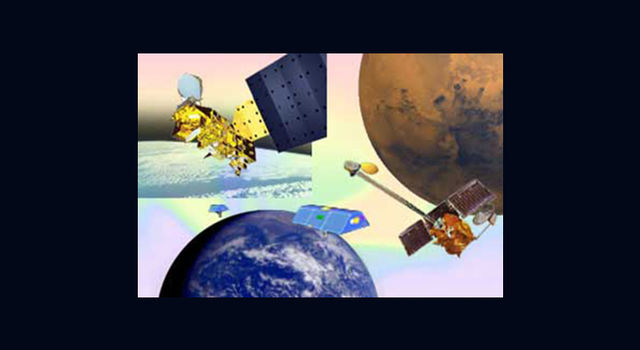 montage: top left, Aqua satellite; top right, Mars Odyssey; bottom, Grace