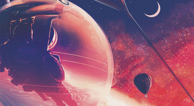 This Exoplanet Travel Bureau poster illustration shows futuristic explorers