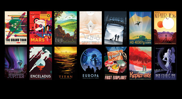 A set of travel posters from NASA/JPL depicts various cosmic destinations.