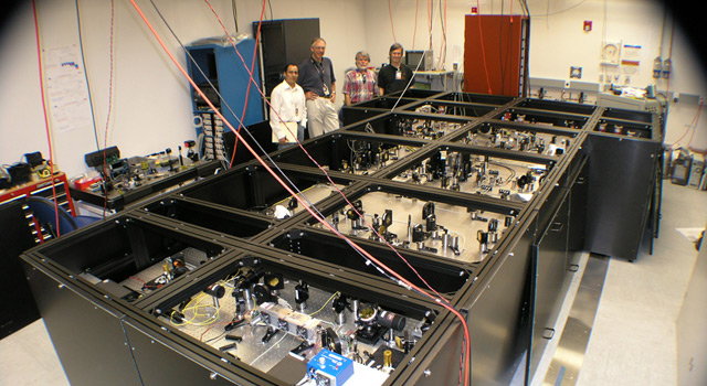 JPLers with the nulling interferometer testbed at JPL