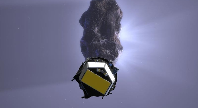 artist's concept of Deep Impact impactor approaching comet Tempel 1, credit: Maas Digital