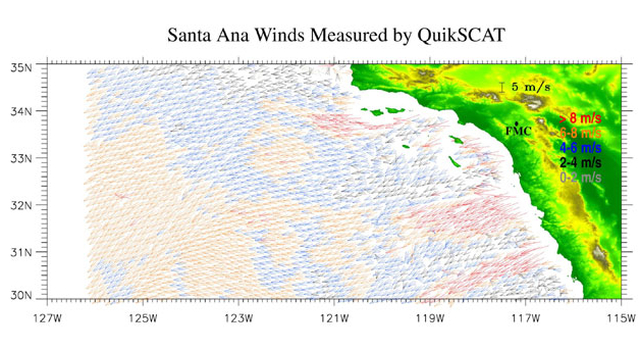This is a QuikSCAT image of winds on the surface of the Pacific Ocean on January 8, 2004.