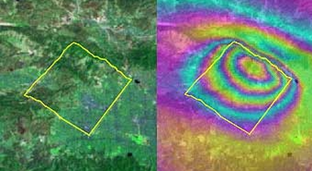 Simulation of deformation of the Earth's surface following the 1994 Northridge, Calif. earthquake, generated by Geofest, one of the QuakeSim simulation tools under development.  The Northridge fault is located within the yellow rectangle.