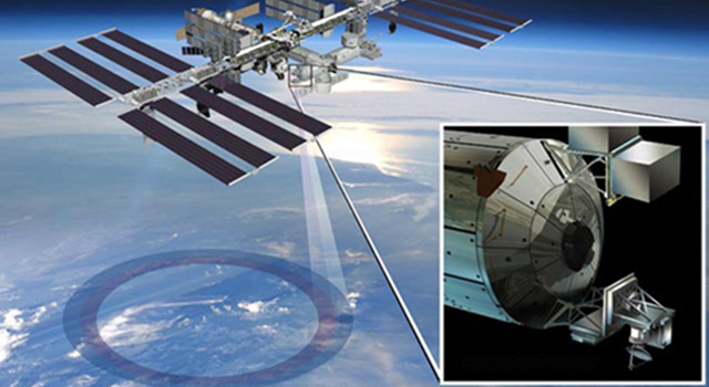 Artist's rendering of NASA's ISS-RapidScat instrument (inset), which will launch to the International Space Station in 2014
