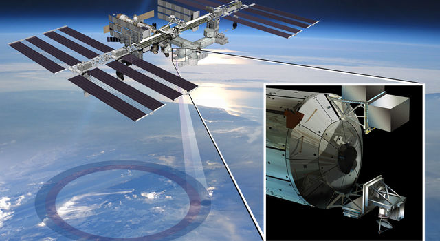 Artist's rendering of NASA's ISS-RapidScat and instrument