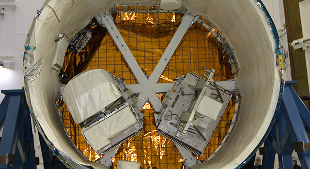 RapidScat's two-part payload is shown in the trunk of a SpaceX Dragon