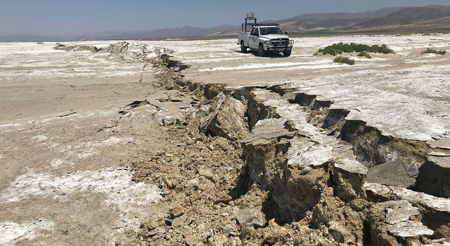 A USGS Earthquake Science Center Mobile Laser Scanning truck scans the surface rupture near the zone of maximum surface displacement of the magnitude 7.1 earthquake that struck the Ridgecrest area.