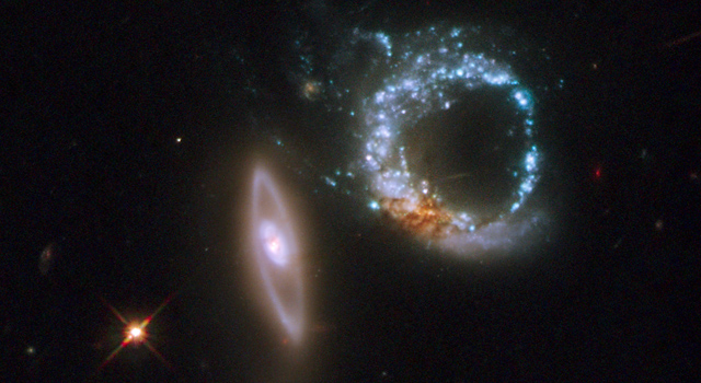 pair of gravitationally interacting galaxies