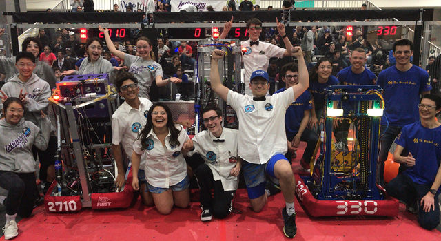 The winning alliance at the 2019 Los Angeles Regional FIRST Robotics Competition