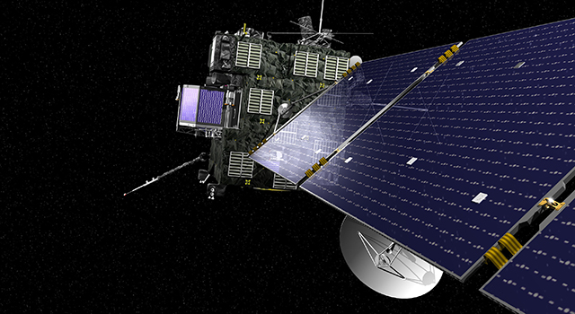 An artist's view of Rosetta, the European Space Agency's cometary probe with NASA contributions.