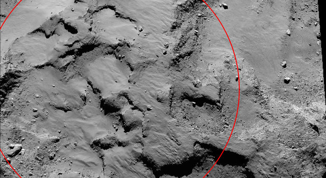 An annotated mosaic from the Rosetta spacecraft