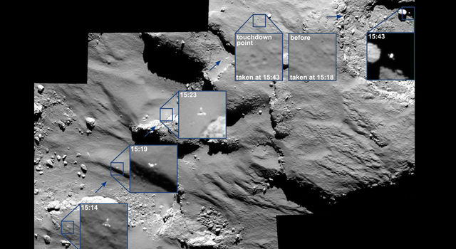 Images taken by the Rosetta spacecraft's OSIRIS imaging system