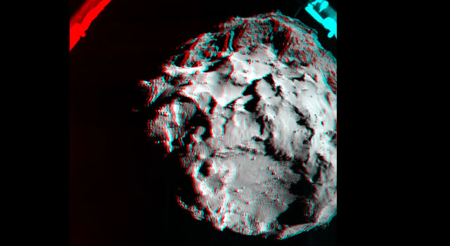 This 3D image shows what it would look like to fly over the surface of comet 67P/Churyumov-Gerasimenko.
