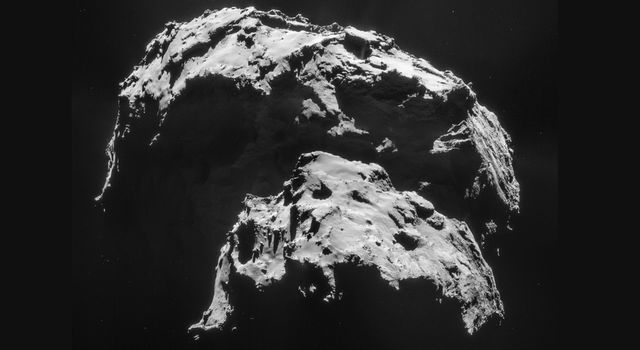Comet 67P/Churyumov-Gerasimenko is seen here in an image captured by the Rosetta spacecraft.